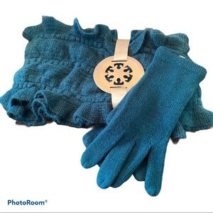 NY & Co Teal Scarf and Glove Set